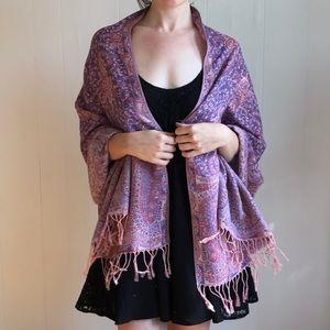 vintage muted pink pashmina scarf